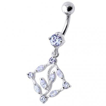 Dangling Jeweled Designer Belly Ring