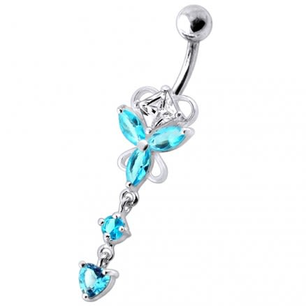 Dangling Jeweled Butterfly Curved Bar Belly Ring