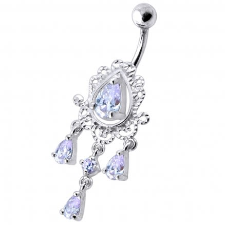 14 Gauge Dangling Jeweled Designer Belly Ring