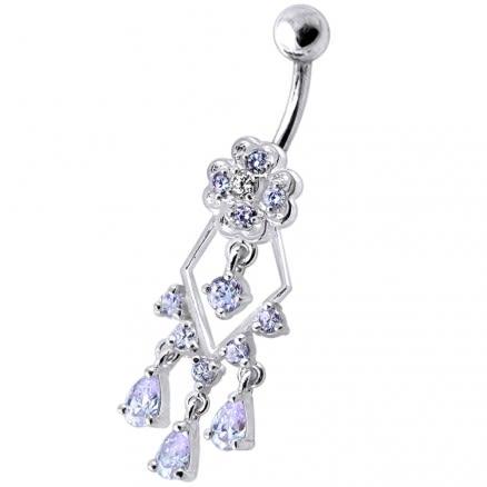 925 Sterling Silver Dangling Jeweled Designer Banana Bar Belly Ring