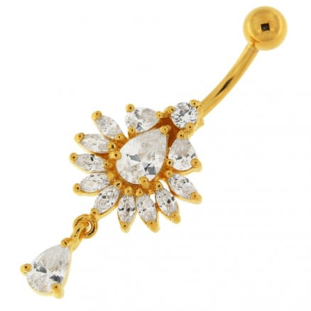 14G 10mm Yellow Gold Platted 925 Sterling Silver Clear Jewel Studded Belly Ring