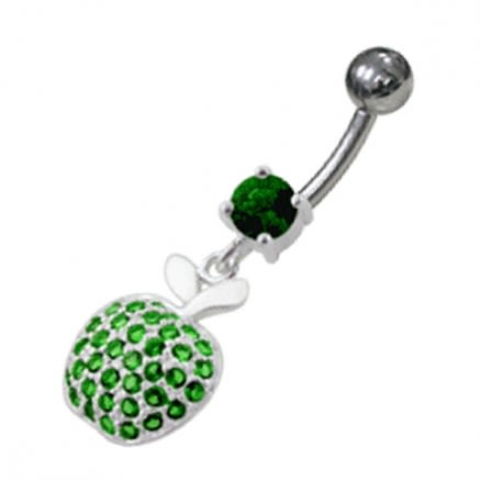 Dangling Jeweled Apple Belly Ring