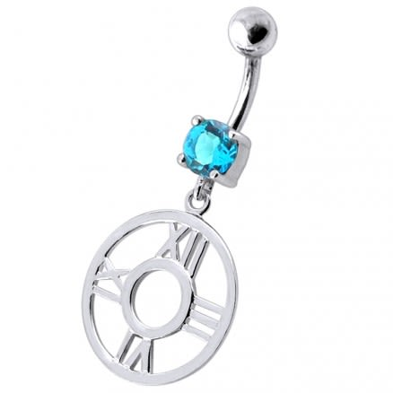 Fancy Clock Shapped Dangling jeweled Belly Ring