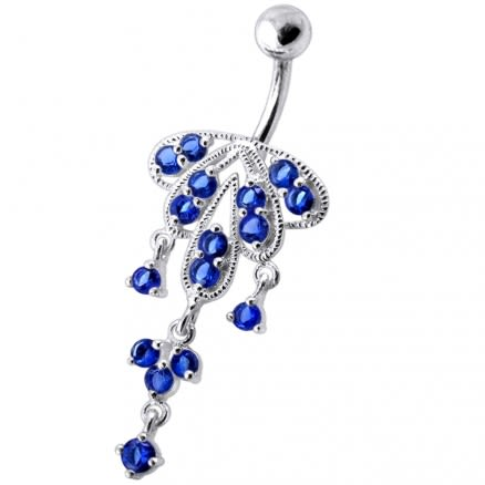 Dangling Jeweled Chandeliers SS Bar Belly Ring