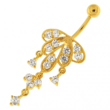 14G 10mm Yellow Gold Platted Sterling Silver Clear Jewel Chandeliers Belly Ring