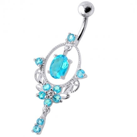 Sterling Silver Dangling Jeweled SS Navel Body Jewelry Ring