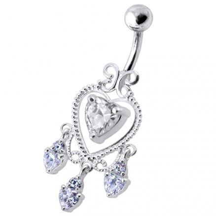 Dangling Moving Jeweled Heart Shaped Navel Ring