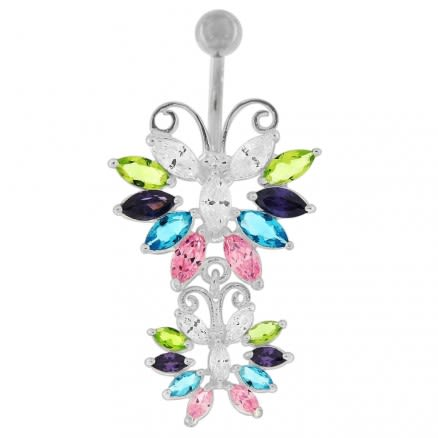 Sterling silver Twin Butterflys Dangling Belly Ring