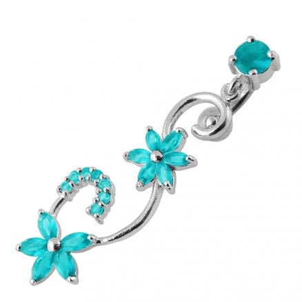 Fancy Multi Star Dangling Jeweled Curved Bar Navel Ring