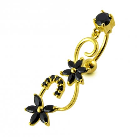 14G 10mm Yellow Gold Platted Sterling Silver Black Jewel Triple Star Belly Ring