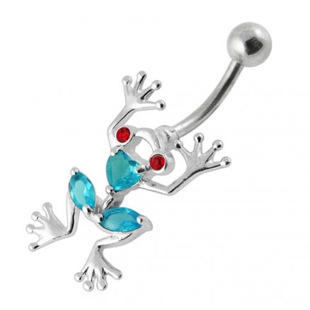 Jewled Frog Dangling Belly Ring