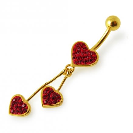 14G 10mm Yellow Gold Platted 925 Sterling Silver Red Jeweled 3 Heart Navel Ring
