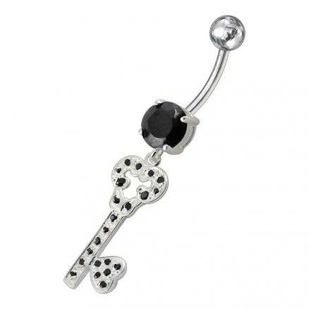 Jeweled Heart Key Dangling Belly Ring