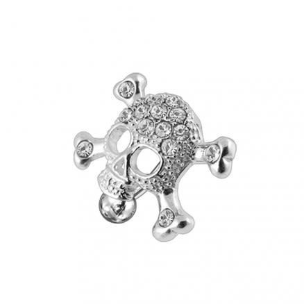 Skull shaped Reverse Dangling jeweled Belly Ring
