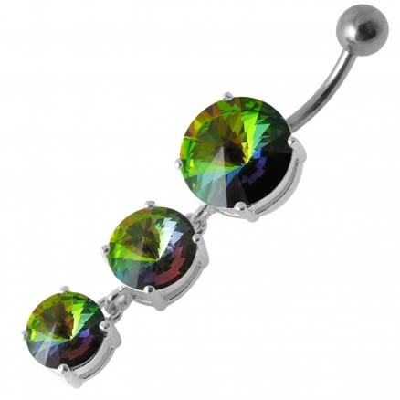 Fancy 3 CZ Stone Studded Silver Dangling Curved Navel Belly Ring Body Jewelry