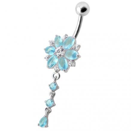 Flower Dangling Jeweled Navel Ring