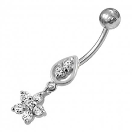 Jewled Flower Dangling Navel Ring