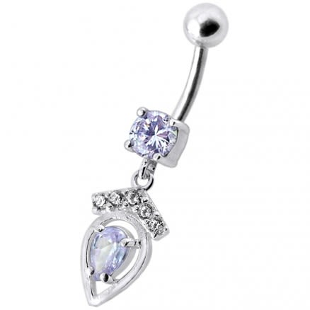 14 Gauge Fancy Dangling Jeweled Belly Ring With SS Curved Bar