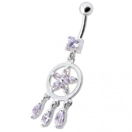 Fancy Dangling Purple Stone SS Belly Ring