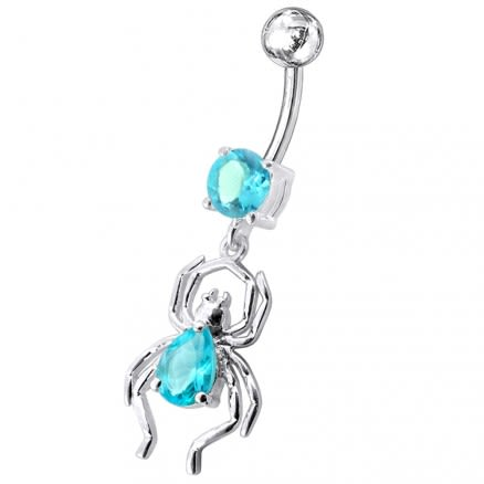 Fancy Jeweled Spider Dangling Belly Ring
