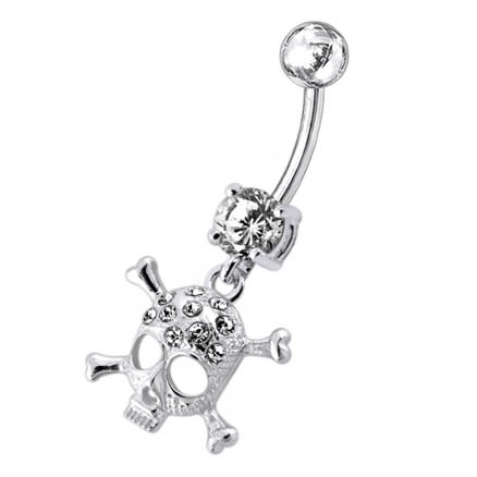 Jeweled Skull Dangling Belly Ring