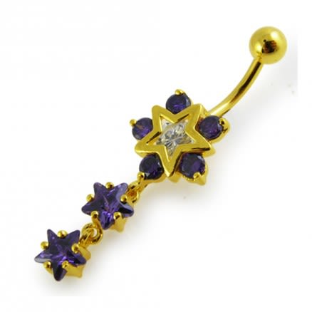 14G 10mm Yellow Gold Platted 925 Sterling Silver Purple Jeweled Star Belly Ring