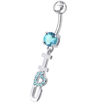 """Fancy Jeweled """"I LOVE YOU"""" letters Dangling Belly Ring"""