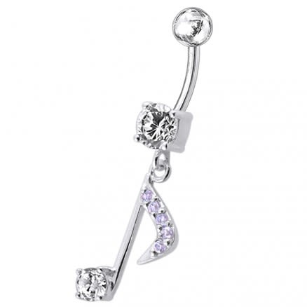Fancy Jeweled Silver Dangling Navel Belly Ring Body Jewelry