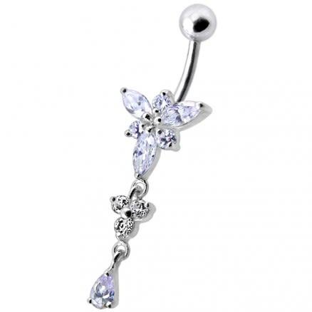 Fancy Pink Jeweled Dangling Belly Navel Ring