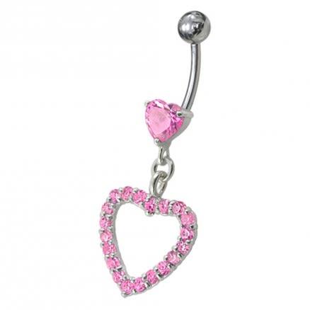 Fancy Royal Blue Jeweled Heart Dangling Navel body Jewelry