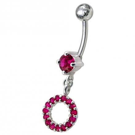 Fancy Multi Jeweled Dangling Navel Belly Ring Body Jewelry