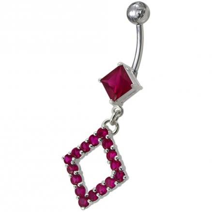 Fancy Design CZ Jeweled Dangling Belly Ring Body Jewelry