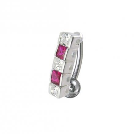14 Gauge Fancy Gems Stone Dangling Reverse Nvel Ring Body Jewelry Ring