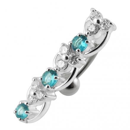 Fancy Green Gems Dangling Reverse Banana Bar Navel Ring Body Jewelry