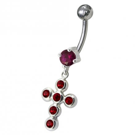 Jeweled Cross Dangling Belly Ring