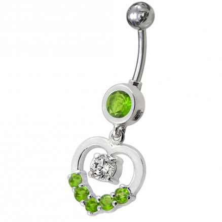 Fancy Jeweled Heart Silver Dangling With SS Curved Navel Body Jewelry Ring
