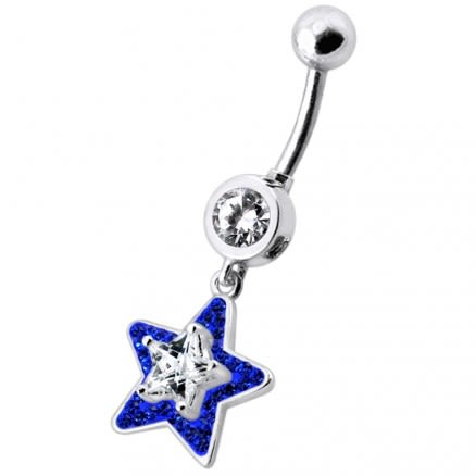 Fancy Jeweled Star Dangling Banana Bar Navel Ring