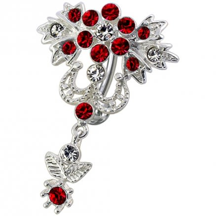 Fancy Red Jeweled Crown Shape Dangling Belly Ring Navel Button
