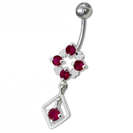 Silver Fancy Jeweled Dangling Belly Navel Ring Body Jewelry