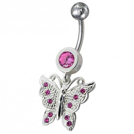 Fancy Jeweled Butterfly Dangling Navel Body Ring