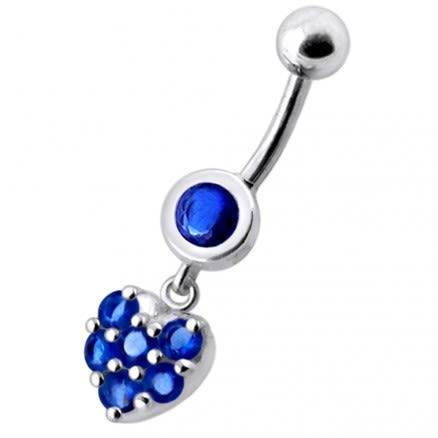 Fancy Green Jeweled Heart Dangling Navel Ring Body jewelry