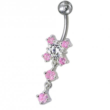 Fancy Stone Jeweled Silver Dangling Navel Belly Ring