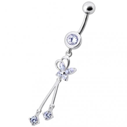 Fancy Silver with Clear Rhinestone 2 Dangles - 316L Surgical Steel Navel Ring