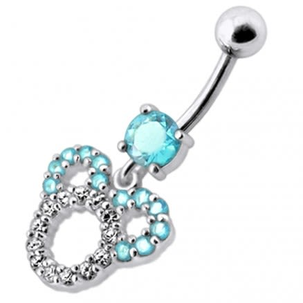 Fancy Pink Jeweled Silver Dangling Belly Navel Ring