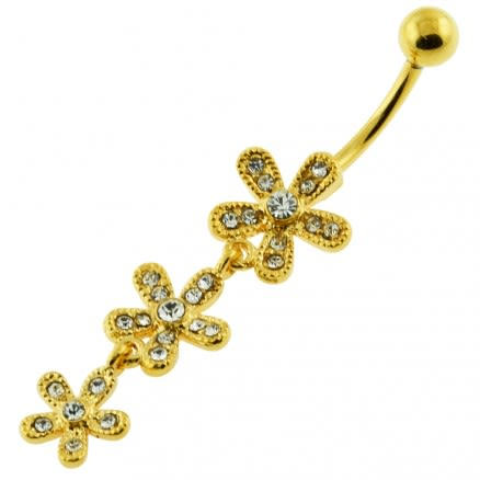 14G 10mm Yellow Gold Platted 925 Sterling Silver Clear Jewel 3 Flower Belly Ring