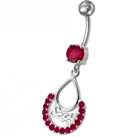 Fancy Multi CZ Jeweled Silver SEXY Dangling Belly Navel Body Jewelry Ring
