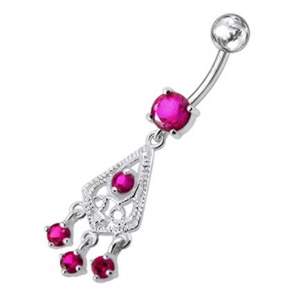 Fancy Jeweled Chandelier Dangling Belly Ring
