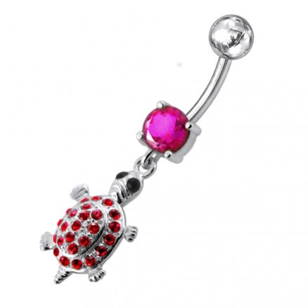 Fancy Jeweled Turtle Dangling Belly Ring