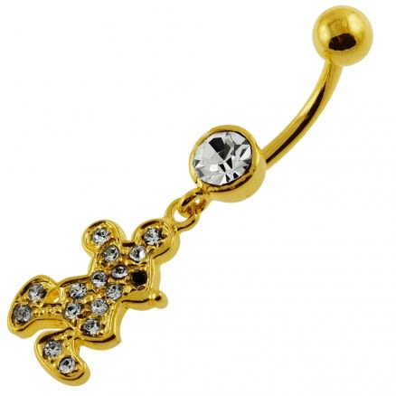 14G 10mm Yellow Gold Platted 925 Sterling Silver Clear Jeweled Doll Belly Ring