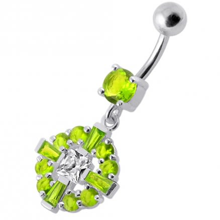 Fancy Royal Vinatge Blue And White CZ Jeweled Dangling Belly Ring